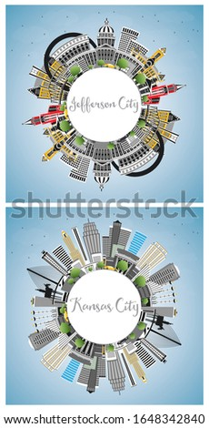 Jefferson City and Kansas City Missouri Skylines with Color Buildings, Blue Sky and Copy Space. Tourism Concept with Historic Architecture. Cityscapes with Landmarks.