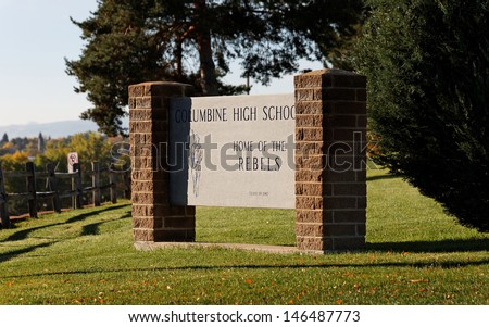 JEFFERSON COUNTY, CO - OCTOBER 7: A sign at Columbine High School on October 7, 2012. Columbine High School was the site of one of the worst school shootings in US history on April 20, 1999. - stock photo