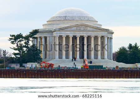 Jefferson Memorial and the Obelisk in Washington D.C.