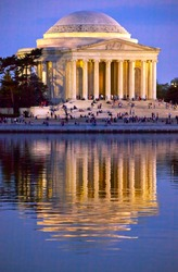Jefferson Memorial and Tidal Basin in April with Reflection