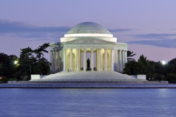 Jefferson Memorial at dusk in Washington DC, USA.