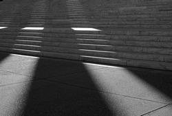 Jefferson Memorial steps in sunlight & shadow