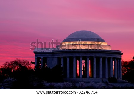 Jefferson Memorial Sunrise at Cherry Blossom Time