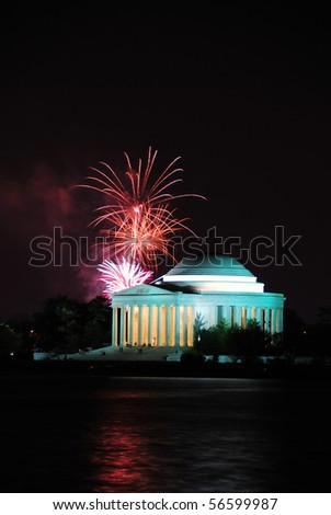 Jefferson memorial with fireworks in Washington DC.
