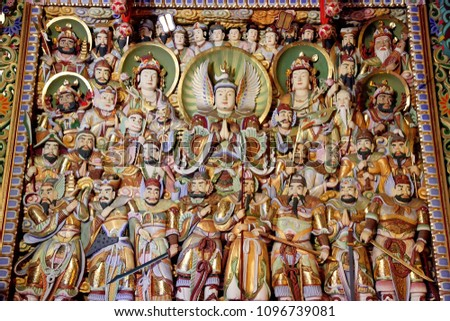 Jeju Island, South Korea - June 23 : Buddha's biography Sculpture and Mural paintings of The Yakchunsa (Yakcheonsa) Temple on Jeju Island in South Korea.