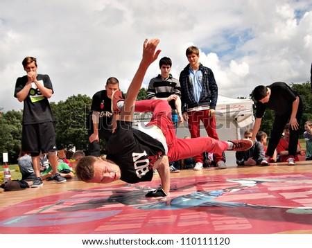 JEKABPILS, LATVIA - JUNE 2: An unidentified b-boy breakdances battle at an Dance competitions - Ghetto Games on June 2 2012 in Jekabpils, Latvia