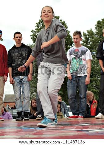 JEKABPILS, LATVIA - JUNE 2: An unidentified hip-hop dancer a dance battle at an Dance competitions - Ghetto Games on June 2 2012 in Jekabpils, Latvia