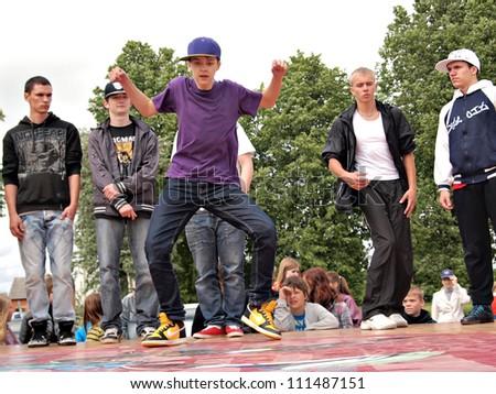 JEKABPILS, LATVIA - JUNE 2: An unidentified hip-hop dancers a dance battle at an Dance competitions - Ghetto Games on June 2 2012 in Jekabpils, Latvia