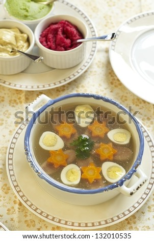 Jellied with beef tongue, carrot and quail eggs