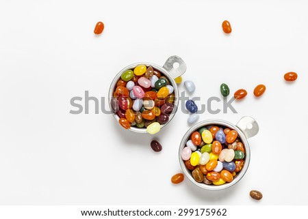 Jelly beans, bowls, white background #299175962