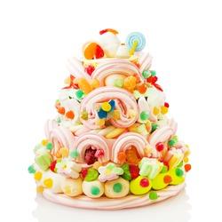 Jelly beans cake isolated on white background