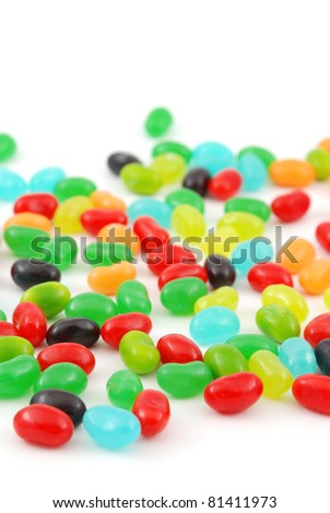 Jelly beans isolated on a white background