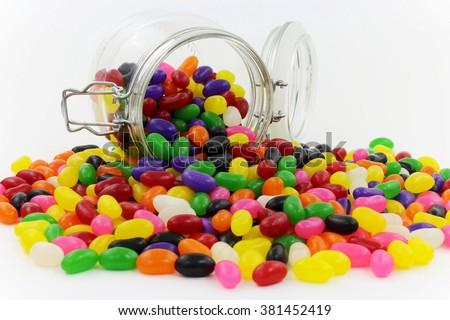 jelly beans spilt from glass...