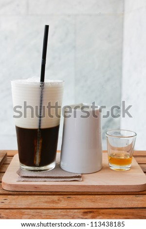 Jelly coffee for drink with milk and syrup
