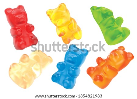 Jelly gummy bears candy. Fruit gum candies isolated on white background. Red, orange, yellow blue and green. 3D rendering