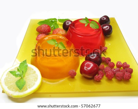 jelly marmalade fruit dessert with orange and strawberry