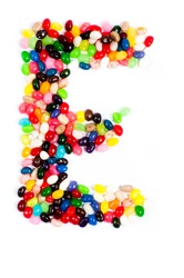 Jellybean alphabet on white background