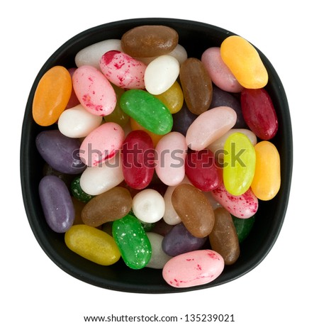 Jellybean sweets, candy in bowl, isolated