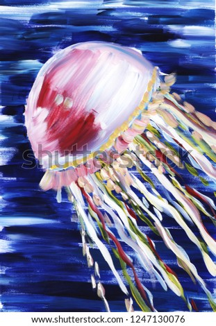 Jellyfish. Abstract impressionism painting. Hand painted with gouache on a paper.
