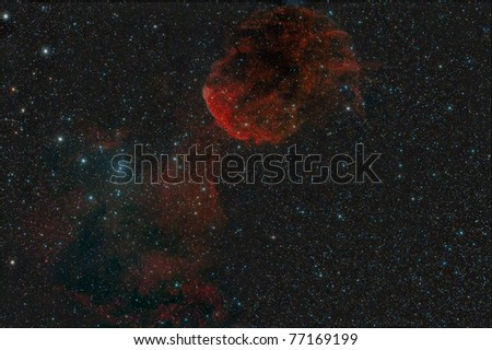 Jellyfish Nebula (also known as theIC 443  and Sharpless 248). IC 443 is thought to be the remains of a supernova that occurred 3,000 - 30,000 years ago.