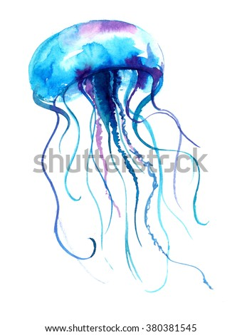 Jellyfish watercolor illustration. Medusa painting isolated on white background, colorful tattoo design. Jelly fish illustration.