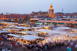 Jemaa El Fna Square in Marrakesh's medina quarter (old city) High Atlas or the Grand Atlas in Morocco, Africa, UNESCO project Masterpieces of the Oral and Intangible Heritage of Humanity