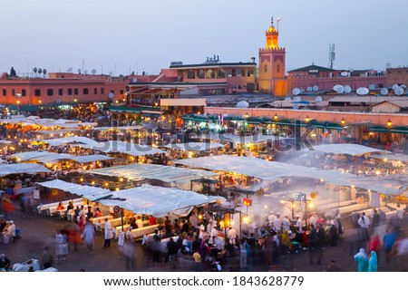 Jemaa El Fna Square in Marrakesh's medina quarter (old city) High Atlas or the Grand Atlas in Morocco, Africa, UNESCO project Masterpieces of the Oral and Intangible Heritage of Humanity Stock fotó ©