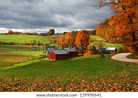 Jenne Farm in Fall with Incoming Storm Clouds