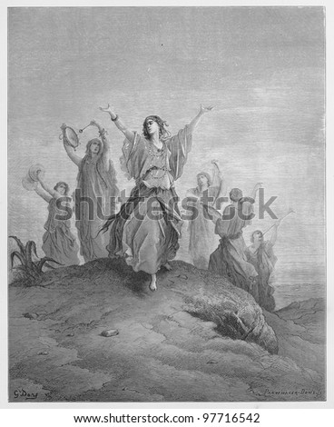 Jephthah`s daughter comes to meet her father - Picture from The Holy Scriptures, Old and New Testaments books collection published in 1885, Stuttgart-Germany. Drawings by Gustave Dore. - stock photo