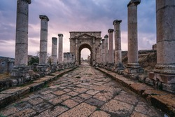 Jerash Roman ruin and ancient city in Amman at sunset, Amman city in Jordan, Asia