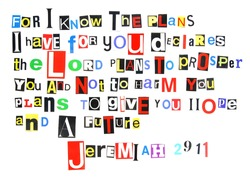 Jeremiah 29:11 ransom note style