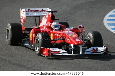 JEREZ DE LA FRONTERA - FEBRUARY 19: Spanish Fernando Alonso and Ferrari F1 team during winter test at Circuito de Jerez on February 19, 2010 in Jerez de la Frontera, Spain