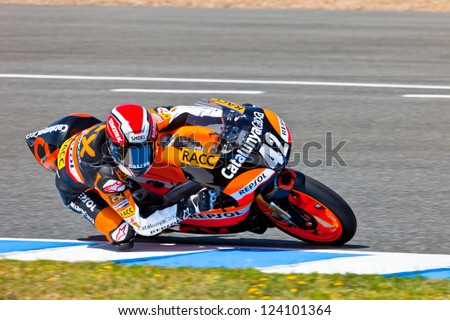 JEREZ DE LA FRONTERA, SPAIN - APR 17: 125cc motorcyclist Alex Rins takes a curve in the CEV Championship race on April 17, 2011 in Jerez de la Frontera, Spain.