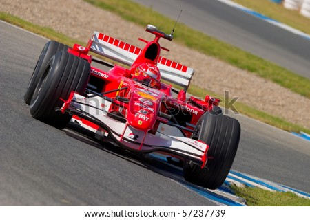 JEREZ DE LA FRONTERA, SPAIN - CIRCA 2006 : Michael Schumacher of Scuderia Ferrari F1 on training session circa 2006 in Jerez de la Frontera, Spain.