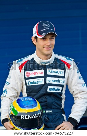 JEREZ DE LA FRONTERA, SPAIN - FEB 06: Bruno Senna of Williams F1 on the presentation of the F1 Car FW34 of Williams on February 06 , 2012, in Jerez de la Frontera , Spain