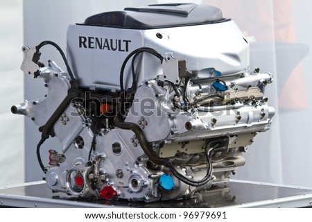 JEREZ DE LA FRONTERA, SPAIN - FEB 06: Engine of  the Lotus Renault F1 on the presentation of the F1 Car E20 on February 06 , 2012, in Jerez de la Frontera , Spain