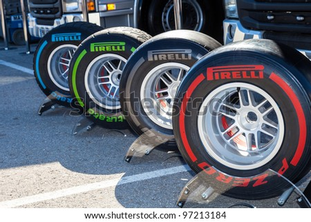 JEREZ DE LA FRONTERA, SPAIN - FEB 08: Exposition of the several sets of pneumatic tires Pirelli for the championship of Formula 1 of 2012 on February 08 , 2012, in Jerez de la Frontera , Spain