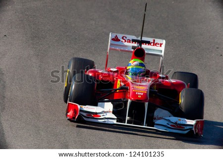 JEREZ DE LA FRONTERA, SPAIN - FEB 11: Felipe Massa of Ferrari F1 races on training session on  February 11 , 2011, in Jerez de la Frontera , Spain