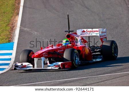 JEREZ DE LA FRONTERA, SPAIN - FEB 11: Felipe Massa of Ferrari F1 takes a curve during a training session on February 11, 2011, in Jerez de la Frontera, Spain