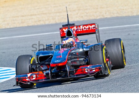 JEREZ DE LA FRONTERA, SPAIN - FEB 07: Jenson Button of McLaren F1 races on training session on February 07 , 2012, in Jerez de la Frontera , Spain