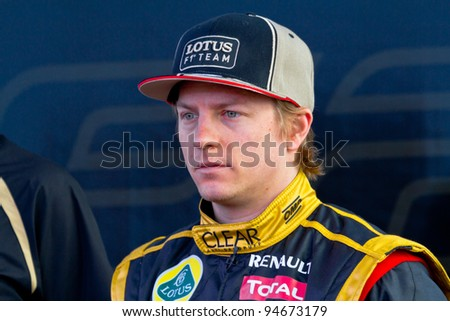 JEREZ DE LA FRONTERA, SPAIN - FEB 06: Kimi Raikkonen of Lotus Renault F1 on the presentation of the F1 Car E20 of Lotus Renault on February 06 , 2012, in Jerez de la Frontera , Spain