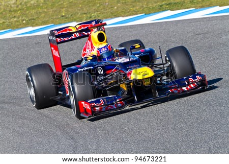 JEREZ DE LA FRONTERA, SPAIN - FEB 07: Mark Webber of Red Bull F1 races on training session on February 07 , 2012, in Jerez de la Frontera , Spain