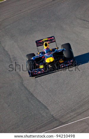 JEREZ DE LA FRONTERA, SPAIN - FEB 11: Mark Webber of Red Bull Racing F1 races on training session on February 11 , 2011, in Jerez de la Frontera , Spain
