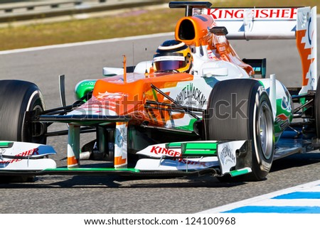 JEREZ DE LA FRONTERA, SPAIN - FEB 10: Nico Hulkenberg of Force India F1 races on training session on February 10 , 2012, in Jerez de la Frontera , Spain