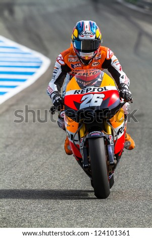 JEREZ DE LA FRONTERA, SPAIN - MAR 25: MotoGP motorcyclist Dani Pedrosa races in the Official Trainnig on March 25, 2012 in Jerez de la Frontera, Spain