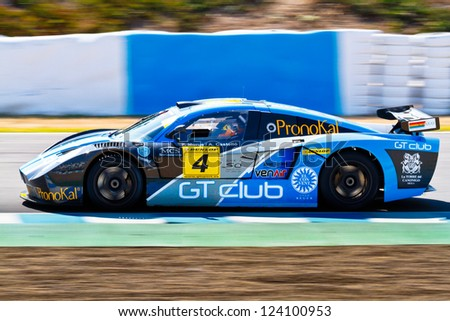 JEREZ DE LA FRONTERA, SPAIN - OCT 16: Ferran Monje of SUNRED races on Iber GT championship on October 16 , 2011, in Jerez de la Frontera , Spain