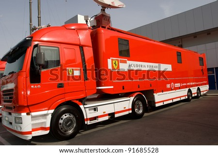 JEREZ DE LA FRONTERA, SPAIN - OCT 10: Truck of Scuderia Ferrari parked on the racetrack of Jerez on October 10, 2006  in Jerez de la Frontera , Spain