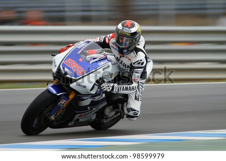 JEREZ, SPAIN - MARCH 24: Spanish Yamaha rider Jorge Lorenzo in action during pre-season test at Jerez circuit in Jerez, Spain on March 24, 2012