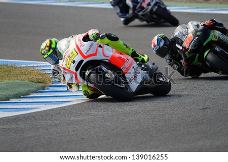 JEREZ - SPAIN, MAY 4: Italian Ducati rider Andrea Iannone during practice at 2013 Bwin MotoGP of Spain at Jerez circuit on May 4, 2013