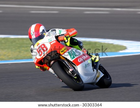 JEREZ, SPAIN - MAY 3. Italian rider Marco Simoncelli during warm up before GP betandwind.com of Spain, May 3, 2009 in Jerez de la Frontera, Spain